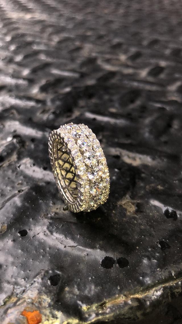 3 Layered Iced Out Ring - Large Center Stones - 925 Silver - Gold X