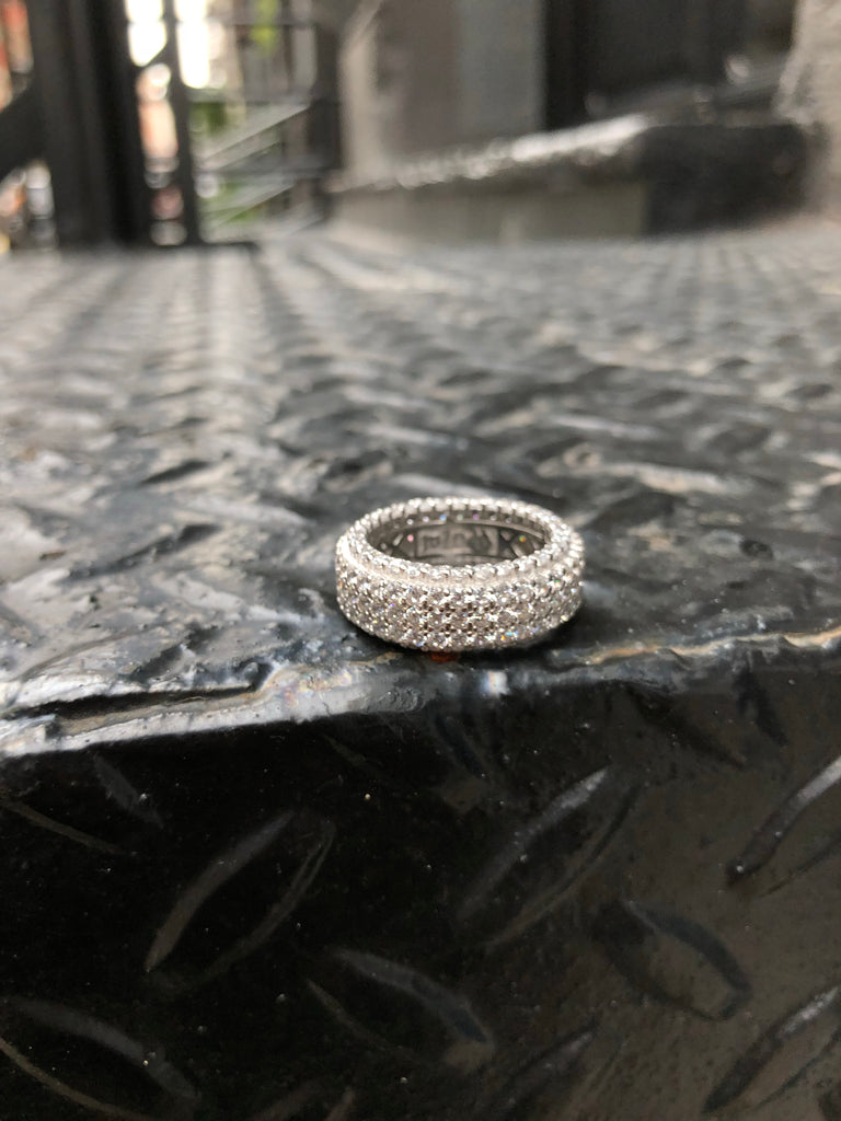 Fully Iced Out Ring - 5 Rows of Diamonds - Silver - Gold X