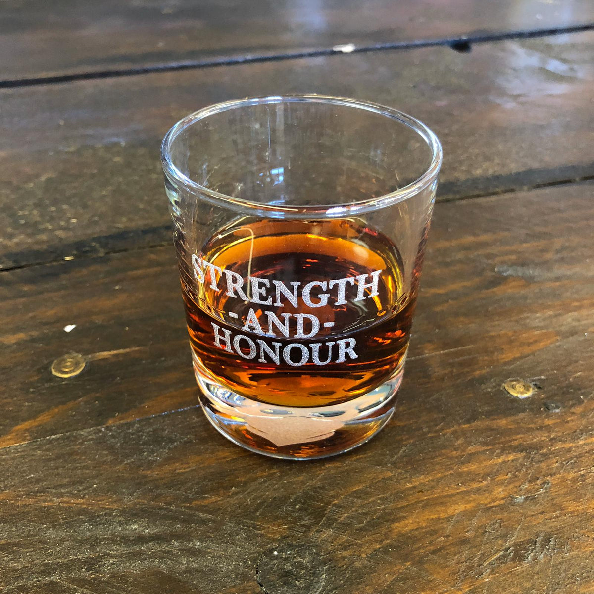 'STRENGTH AND HONOUR' WHISKEY GLASS
