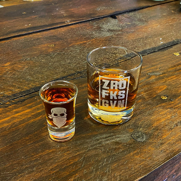 'ZRO FKS GVN' WHISKEY & SHOT SET