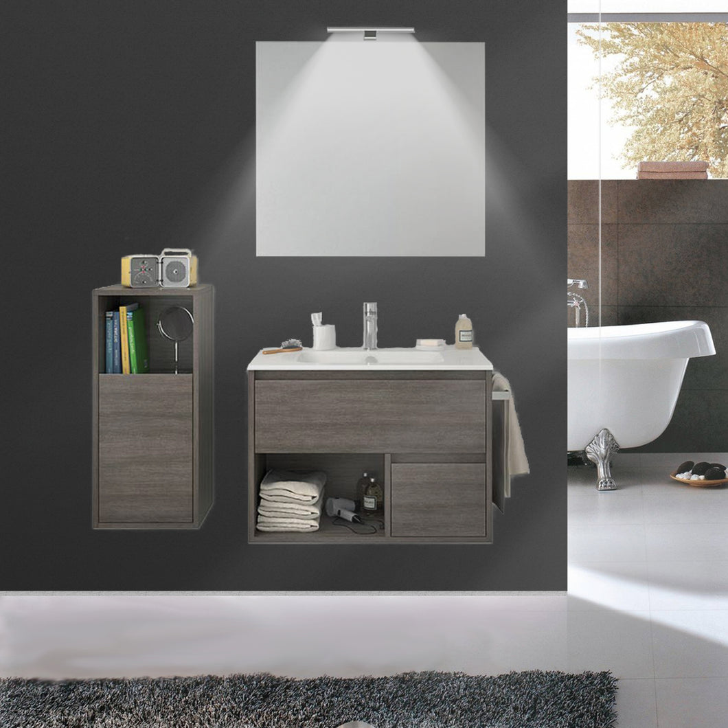 Dora Modern Fogia Gray Oak Wall Mount Bathroom Vanity Set
