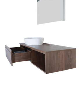 "Benedetta 60"" Navarro Oak Brown Wall Mount Bathroom Vanity"