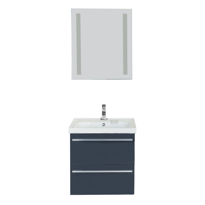 Fiore Contemporary Anthracite Gray Wall Mount Bathroom Vanity Set