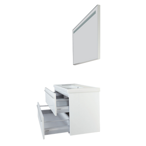 Fiore Contemporary Glossy White Wall Mount Bathroom Vanity Set