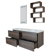 "Load image into Gallery viewer, Lampone 55"" Fogia Gray Oak Double Sink Modern Wall Mount Bathroom Vanity"