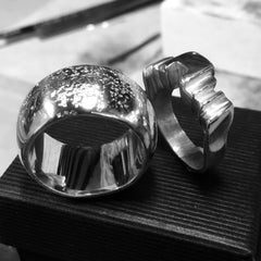 wax carved wedding bands cast in sterling silver