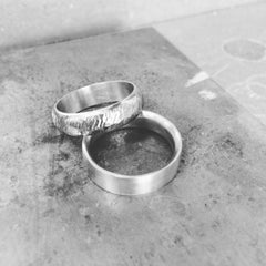 White gold textured wedding bands