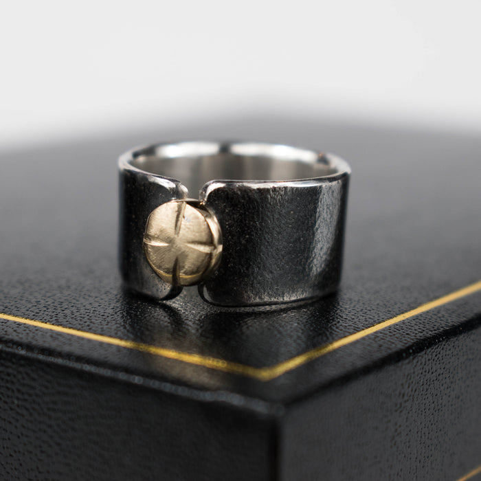 Black and gold button ring