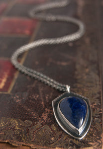 Shield pendant with sodalite