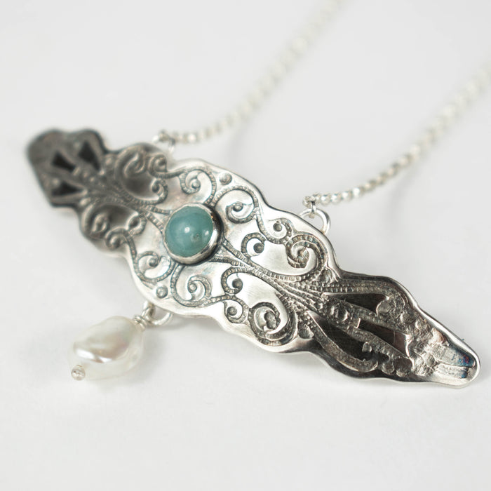 Amazonite and pearl ornate pendant