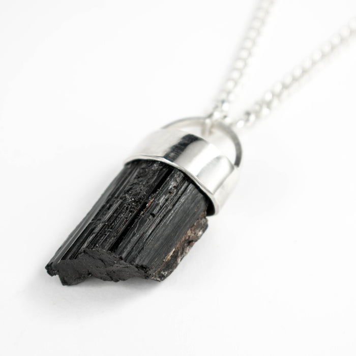 Black tourmaline shard necklace