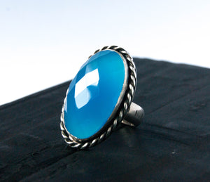 Blue chalcedony statement ring