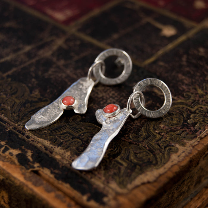 Silver and coral molten earrings