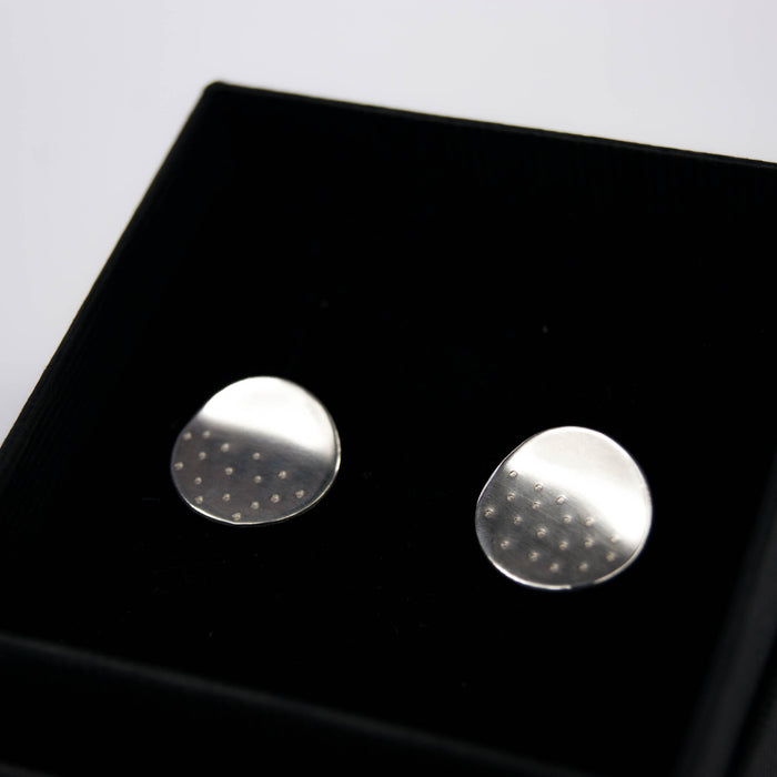 Dotty silver circle ear studs