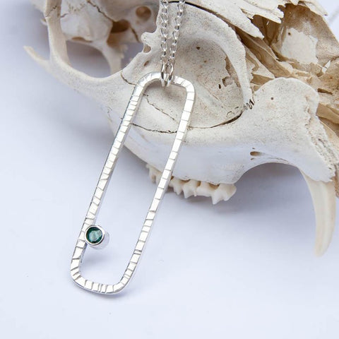 Large emerald rectangle pendant