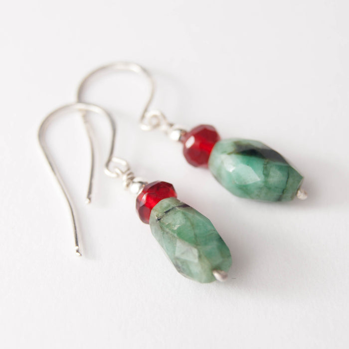 Emerald and rubellite drop earrings
