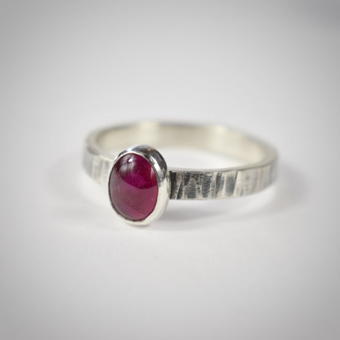 Pink oval tourmaline stacker ring