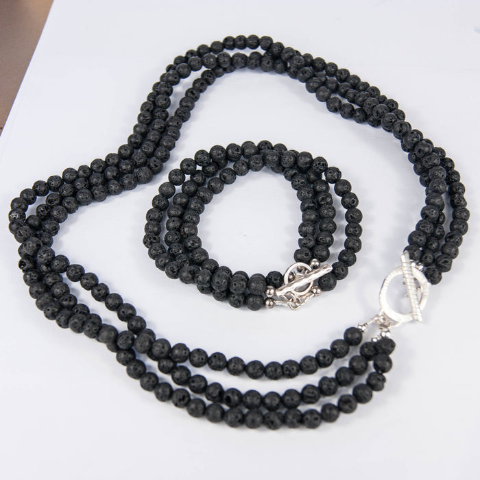 Black Lava Bead Necklace
