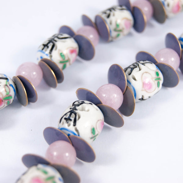 Rose quartz and blossom necklace