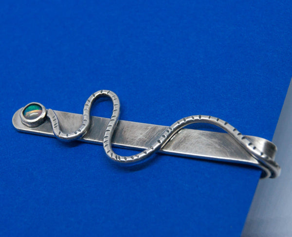 Serpentine silver and opal tie slide