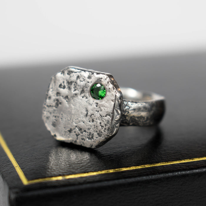 Ancient style signet with tsavorite