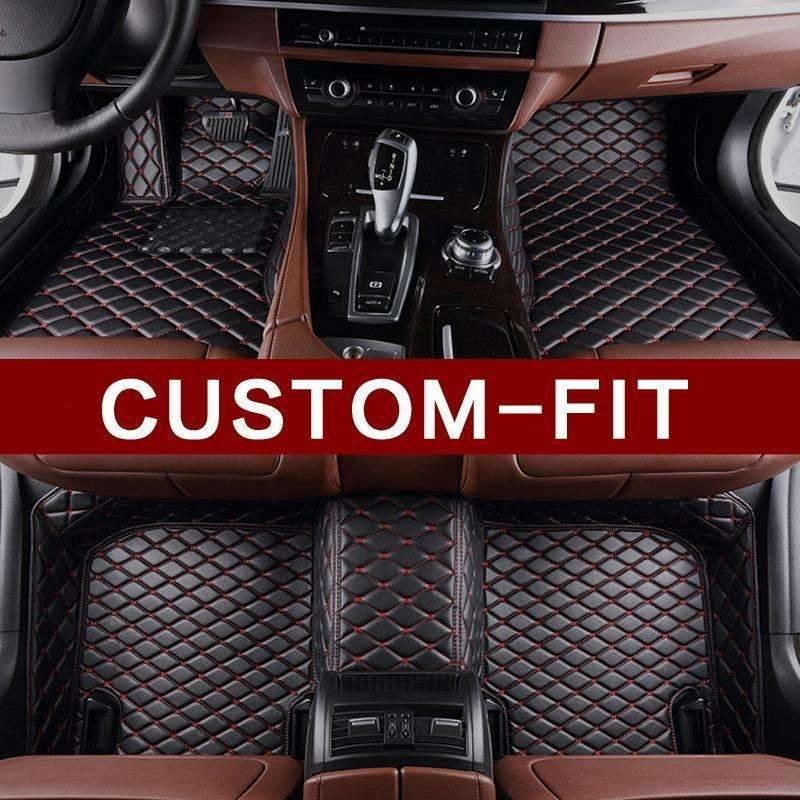 Black (Red Stitching) Diamond Leather Floor Mat