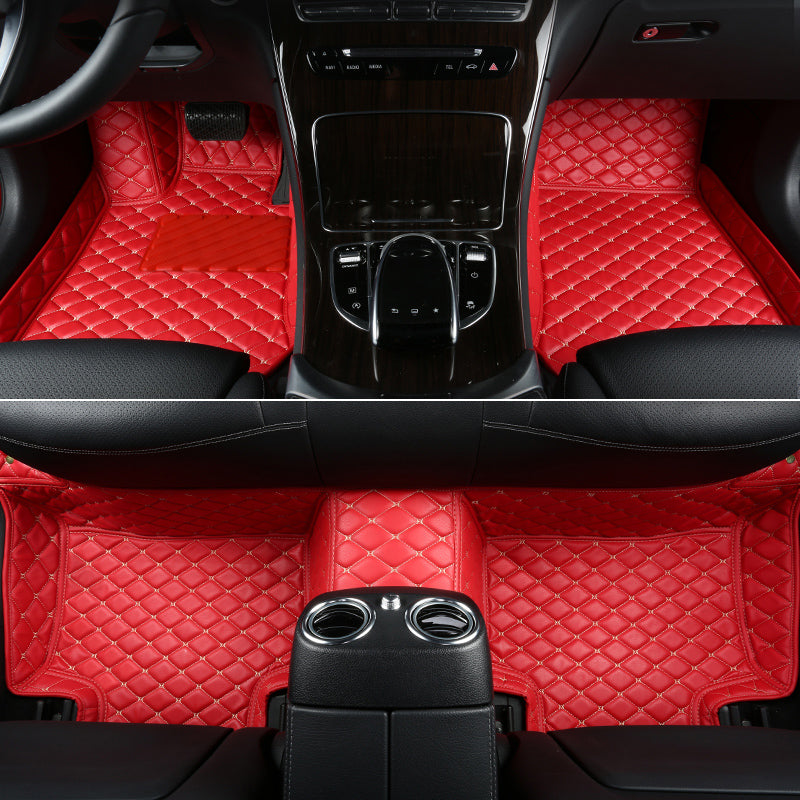 Red Diamond Leather Floor Mat