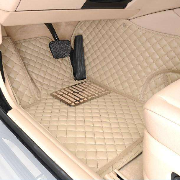Beige Diamond Leather Floor Mat
