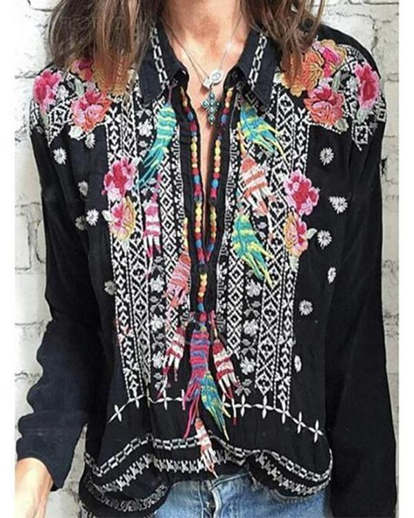 Stand Collar Long Sleeve Flower Embroidered Plus Size Blouses Tops - nayachic