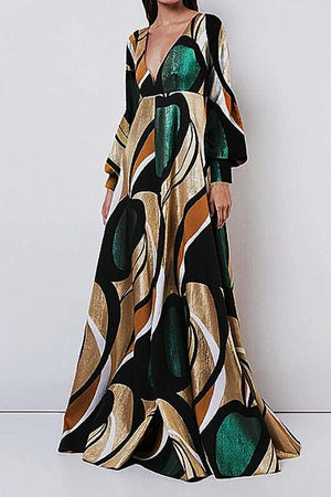Women Elegant And Fashionable   Print  Maxi Dress