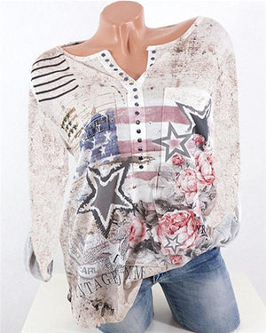 V Neck Elegant Button Women Star Printed Tops