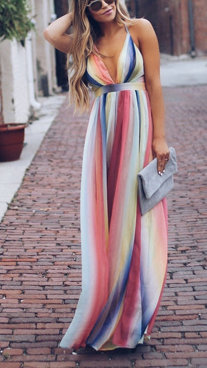 Women Color Deep V High Waist Maxi Dress