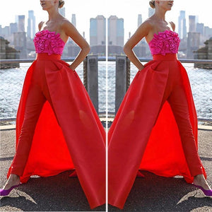 Women Commuting Bare Back Off-Shoulder Bowknot Splicing Suit