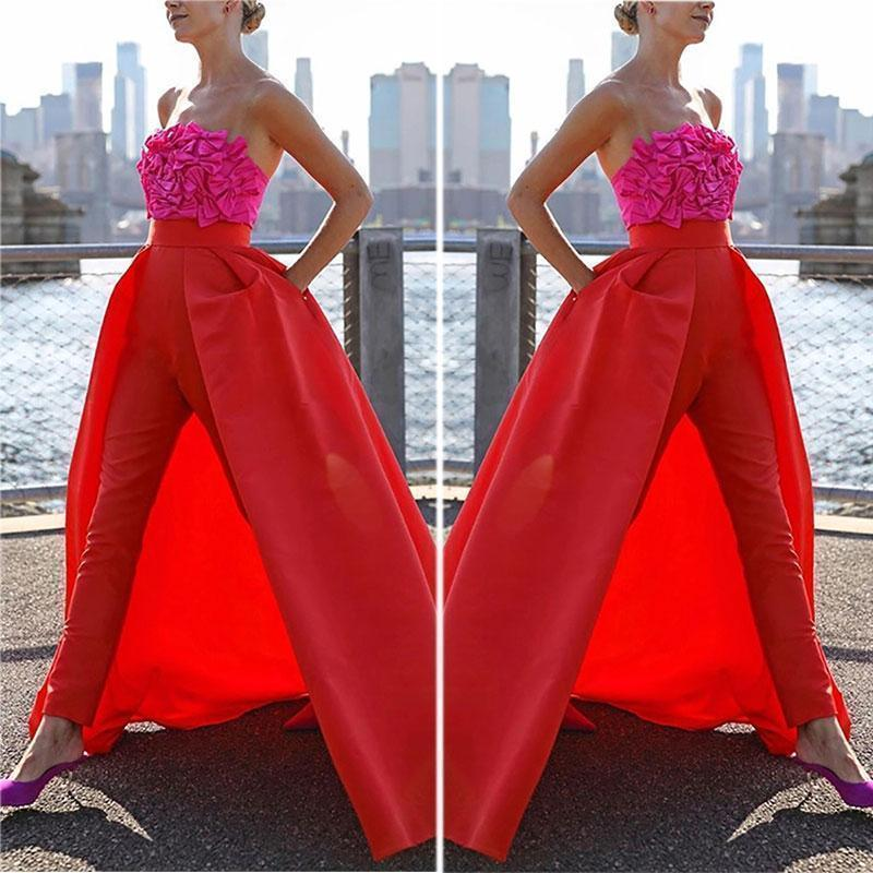 Commuting Bare Back Off-Shoulder Bowknot Splicing Suit
