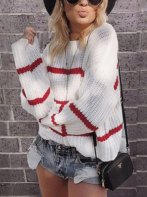Women Casual Loose Stripe Long Sleeve Round Neck Sweater