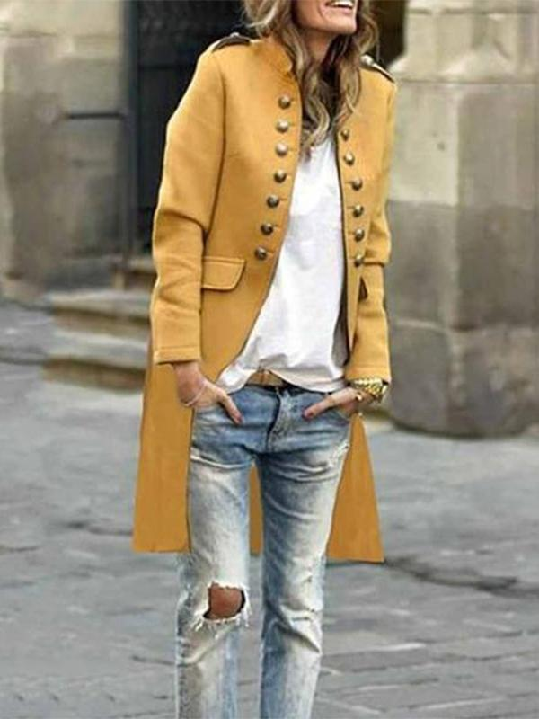 Women Band Collar  Double Breasted  Plain Trench Coat