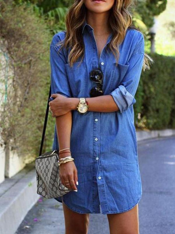 Women 2018 New Style Denim T-Shirt Dress