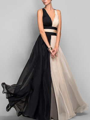 Women Deep V-Neck  Color Block  Chiffon Evening Dress