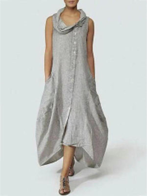 Women Cowl Neck  Single Breasted  Plain Maxi Dress
