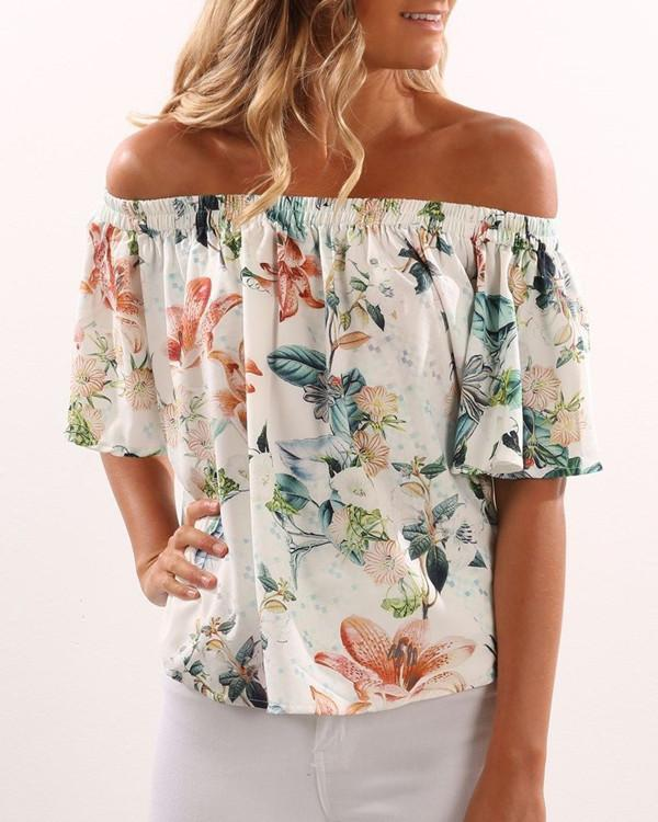 Women Short Sleeve Off Shoulder Floral Printed Shirt Blouse Tops - nayachic