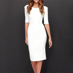 Women Boat Neck  Plain  Blend Bodycon Dresses