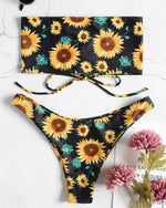 Cute Women Pure Color / Flower Printed Lace-Up Bikini Swimsuits - nayachic
