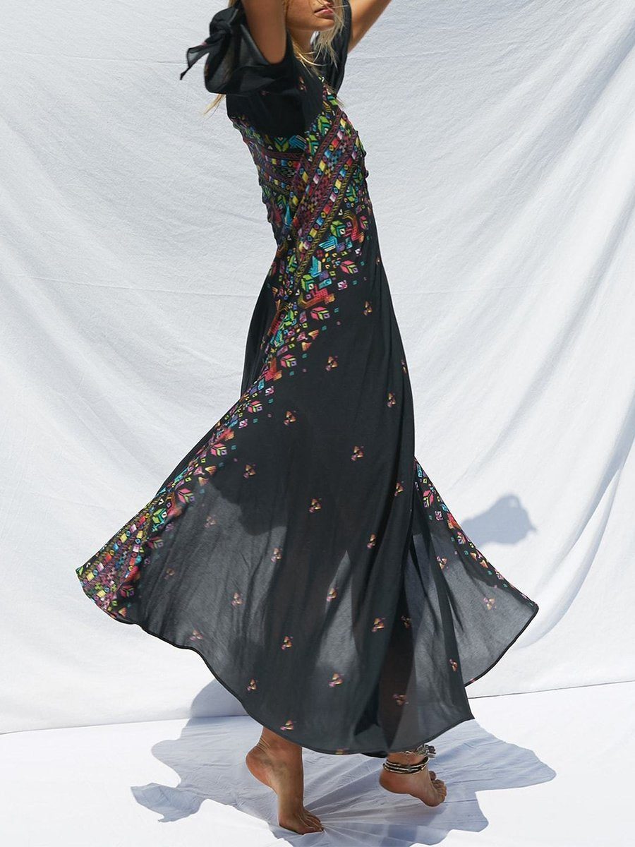 Women Boho Deep V-Neck  Tribal Printed Maxi Dresses