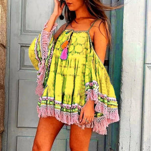 Women Bohemian Sling Stitching Strapless Dress