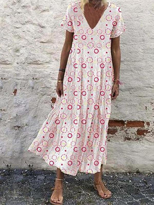 Women Bohemia Printed V Neck Casual Maxi Dress