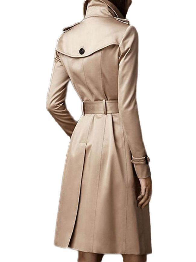 Women Awesome Lapel Breasted Plain Trench-Coats