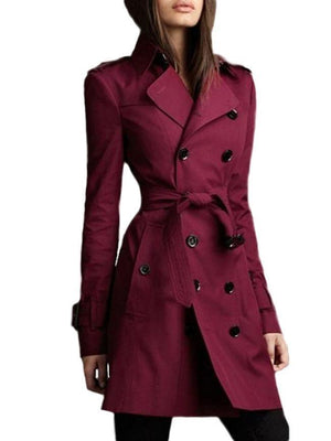 Awesome Lapel Breasted Plain Trench-Coats