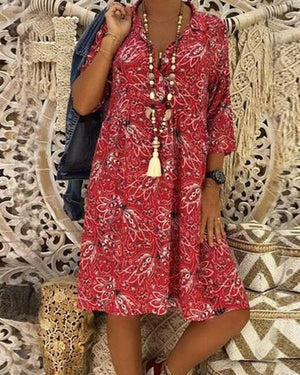 V Collar Floral Printed Loose Vacation Plus Size Dress - nayachic