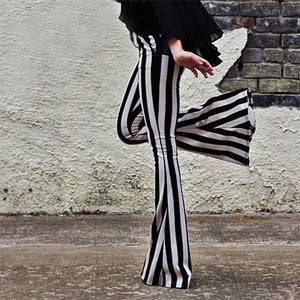 Women Black And White Stripes Micro Lama Autumn High Waist Trousers
