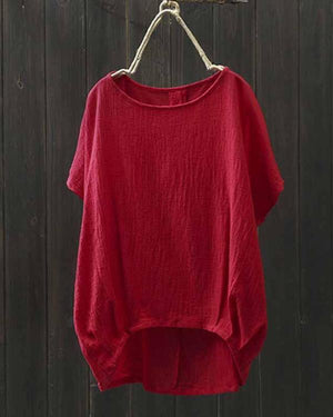 Women Batwing Sleeve Cotton Asymmetrical Blouse - nayachic